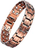 WELMAG® Mens Copper Double Row Magnetic Therapy Bracelets for Arthritis Wristband Adjustable