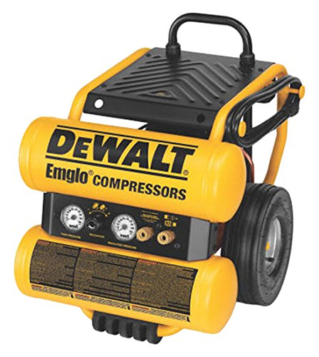 DEWALT D55154 1.1 HP Continuous 4 Gal Electric Wheeled Dolly-Style Air Compressor with Panel