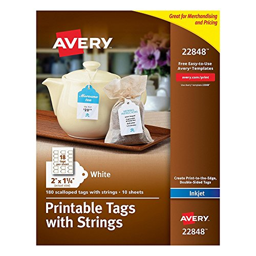 Avery Printable Tags for Inkjet Printers Only, Scalloped Tags With Strings, 2' x 1.25', 180 Tags (22848)