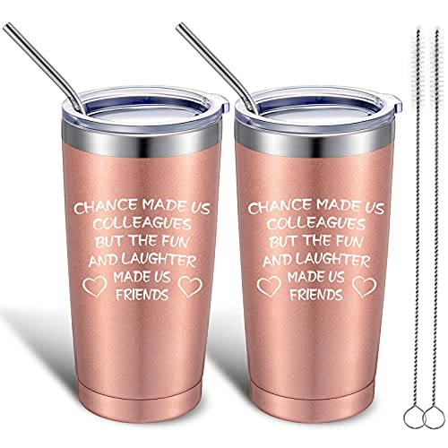 2 Pack Coworker Gifts for Women Chance Has Made Us Colleagues, Funny Coworker Leaving Gift Going Away Job Change Birthday Gifts for Boss Work Friend, BFF, Bestie, 20 oz Tumbler (Rose Gold)