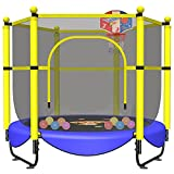 60' Trampoline for Kids Toddler Baby with Safety Enclosure 5 FT Indoor Outdoor Recreational Trampolines with Durable Net, Birthday Gifts for Kids, Gifts for Boy and Girl