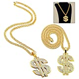 iwobi 1 Piezas de Cadena Chapado de Oro para Hombres Collar de Dólar Collar de Colgante de Signo de Dólar Collar de Dólar de Hip Hop