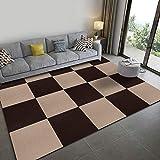 タイルカーペット ジョイントマット タイルマット チェアマット ズレない 防音 洗える カーペット ペット用 パンチカーペット 床保護マット 30*30cm (ブラウン+ベージュ, 20枚)