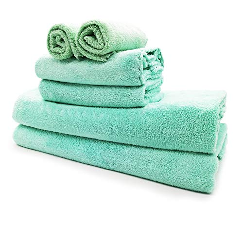 Nockchawon 6 Pack Bath Towel Set,Microfiber Coral Velvet Towel,2 Bath Towels, 2 Hand Towels and 2 Washcloths,Super Soft,High Absorption and Durable Quick-Drying Towel Set for Daily Use Such (Green)