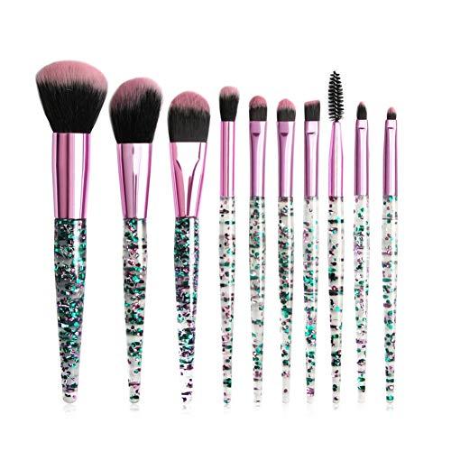 Pinceau de maquillage pour les yeux Onkessy 10pcs Kit de brosse à paillettes de cristal Eyeliner Eyeliner Brosse à cils Brosse de mélange pour les yeux Convient comme cadeau