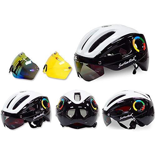 TKTTBD Leggero Adulto Casco Bici, Regolabile Sicurezz Casco da Ciclismo con Magnetica Rimovibile Visiera Caschi di MTB Insetti-Protettivo,300g Ultra-Light Casco Bicicletta con 3 Goggles
