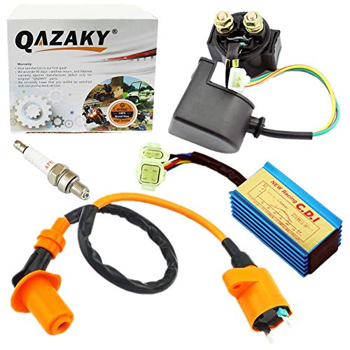 QAZAKY Performance Ignition Coil + CDI + Starter Relay Solenoid + Spark Plug for GY6 50cc 70cc 90cc 110cc 125cc 150cc 4-stroke Engine Scooter ATV Moped Quad Go Kart Pit Dirt Racing Bike 139QMB