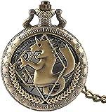 Pocket Watch Vintage Pocket Watch Fullmetal Alchemist Bronze Horse Pocket Watches Hollow Quartz Pocket Watch Gift For Gifts