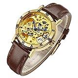 IK Women's Steampunk Automatic Mechanical Watch, Genuine Leather Watch Band Strap Self Winding Lady...