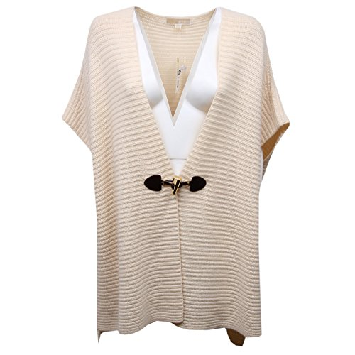 Michael Kors D5130 Poncho Donna Cream Wool/Cashmere Sweater Woman [S/M]
