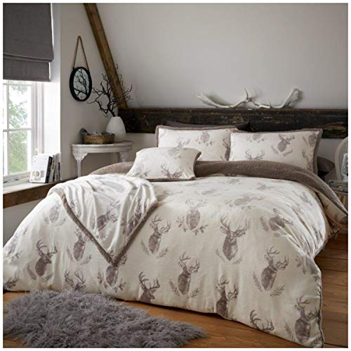 Premium Quality Soft & Cosy Teddy Murray Stag Fleece Duvet Cover Set, Fleece & Warm Fluffy Bedding Set, King Size, Natural