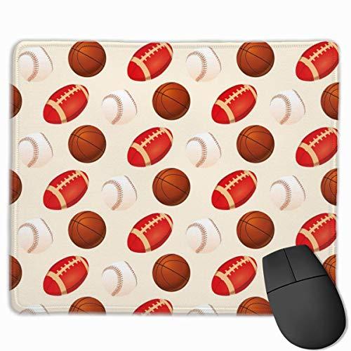 Béisbol, Baloncesto y fútbol, Alfombrilla de ratón Antideslizante para Juegos, Alfombrilla de ratón con Bordes cosidos, 18x22cm