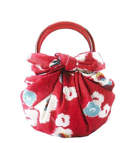 むす美/musubi 風呂敷 綿 モダンガール いちごバッグ 70cm リング付 袋入 梅 アカ