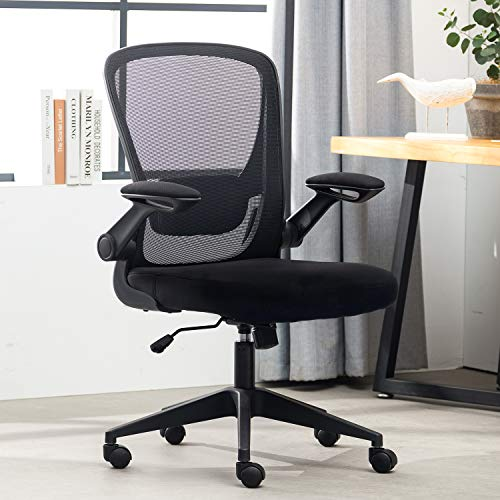 Home Office Chair,Ergonomic Desk Chair,Mesh Computer Chair Mid Back Comfort Chairs with Lumbar Support and Flip-up Arms,Black