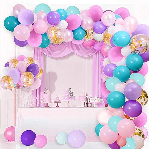 AivaToba - Kit de guirnalda de unicornio para fiestas de cumpleaños, decoración rosa, blanco, azul, morado, kit de arco de unicornio, globos de látex para baby shower, boda y niña