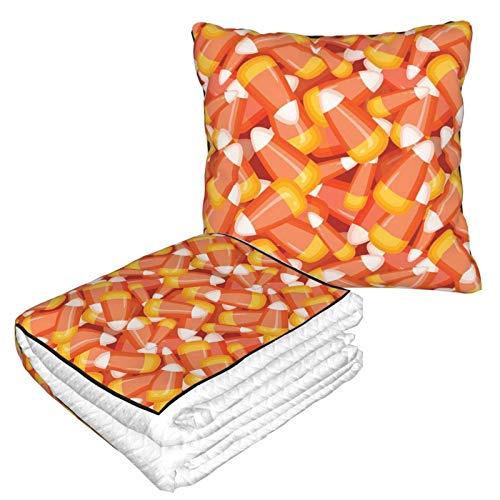 Ahdyr Pillow Blanket 2 In 1 Kristallklare Candy Corn Blanket Leichte Plüschbett-Wurf-Cabrio-Fleecedecke Soft Travel Neck Pillow Sofa Combo Blankts für Flugzeugbüro-Autoreisen Camping