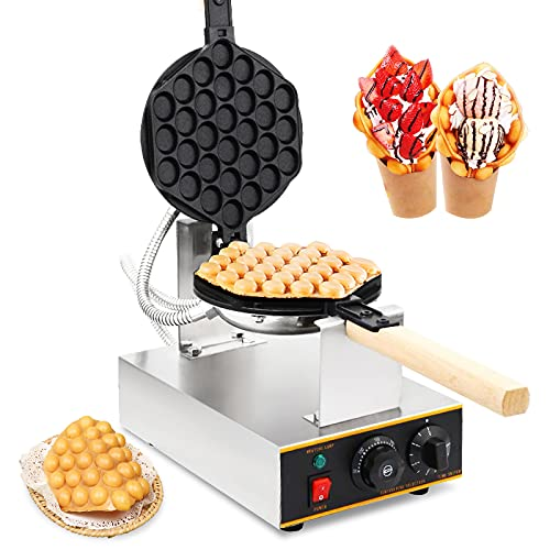 Dyna-Living Bubble Waffle Maker Egg Waffle Machine Electric Non-Stick Commercial Bubble Waffle Cone Maker Household Egg Waffle Iron for Snack Shop or Cafe