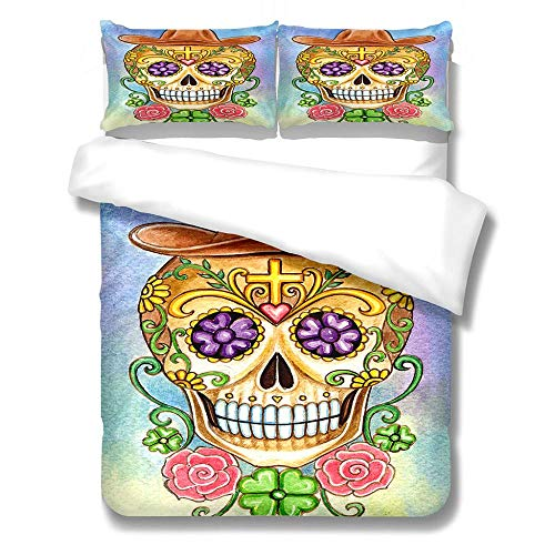 SUZIHUA Double Duvet Cover With 2 Pillowcases,Personality Skull,With Zipper Closure In Polyester Printed Quilt Cover Bedding Set 3Pcs,Quilt Cover Bedding Set 3Pcs
