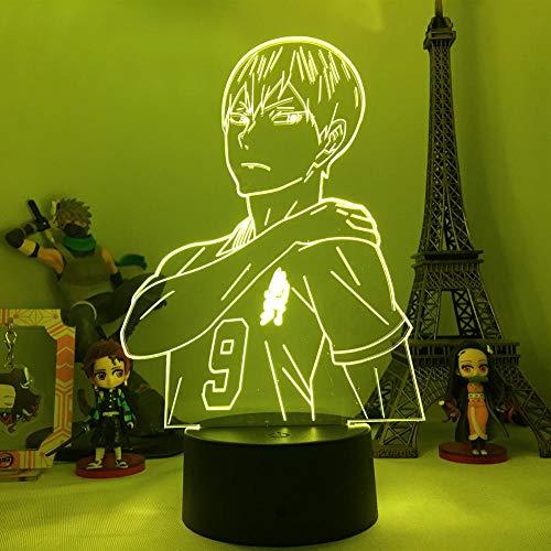 Lámpara de ilusión 3D Led Night Light Dongman u Shoyo HinataFavorite Bonito regalo para niños 7 colores Decoración de dormitorio-16 color remote control