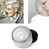 White Hair Color Wax, Natural Hairstyle Wax 4.23 oz, Temporary Hairstyle Cream for Party, Cosplay, Halloween, Daily use, Date, Clubbing (White)