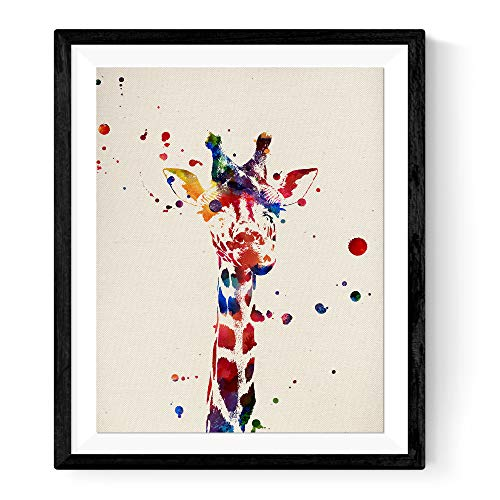 Nacnic Prints Giraffe Baby Animals - Set of 1-250g Paper - Beautiful Poster Painting for Home Office Living Room