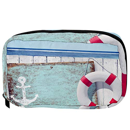 Bolsas de cosméticos de madera para playa, práctica bolsa de viaje Oragniser bolsa de maquillaje para mujeres y niñas