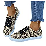 Aniywn Leopard Print Flats Canvas for Women Slip On Sneakers Lace Up Casual Low Top Sneaker Flats Walking Shoes Yellow