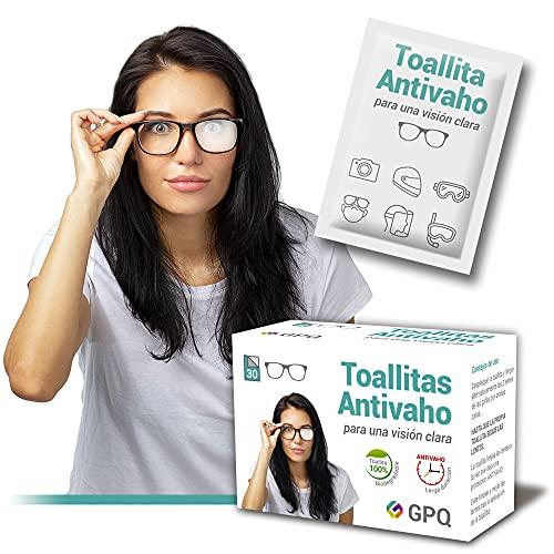 GPQ - Toallitas Antivaho húmedas y desechables para Gafas, Pantallas de protección, Máscaras de buceo, Viseras de casco, Opticas de cámaras. 30 Toallitas