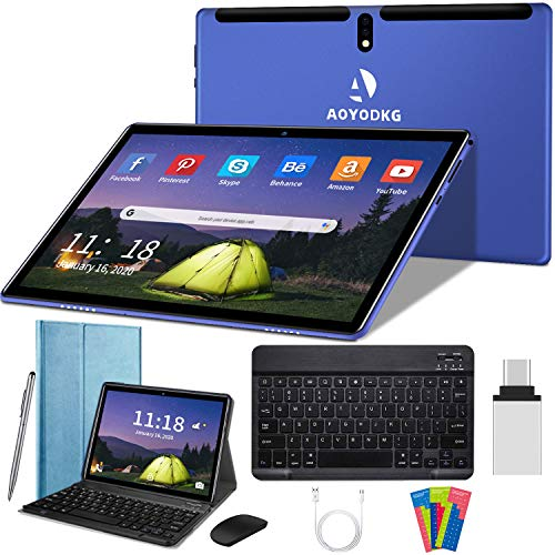 10 inch Tablet Android 10 Tablets,4GB RAM, 64GB Storage,4G Dual SIM,Quad-Core Processor,Unlocked Tablet PC,8000mAh Battery,Metal Housing,GMS Certified(Blue)