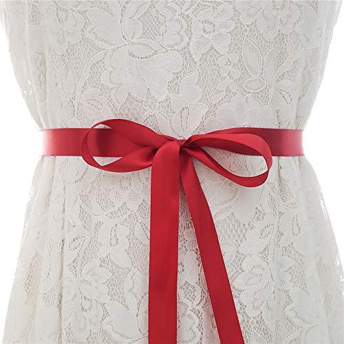 TnSok - Cintura da sposa fatta a mano con strass e cintura, accessorio per abito da sposa, Strass, Rosso, 32cm x 2.5cm