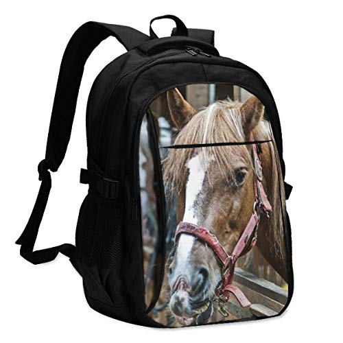 DJNGN Mochila USB Bolsa para portátil Running Horse Backpack Personality with USB Backpack Laptop Bag Waterproof Travel Daypack for School