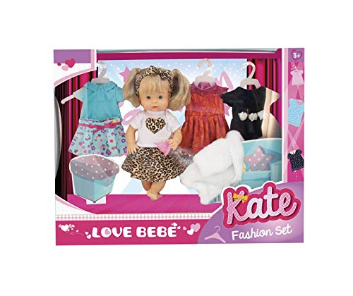Love Bebé - Kate Fashion Set Bambola con Vestiti - Bambola per Bambini con 4 Outfit da Cambiare e Biberon - Giochi per Bambini e Giocattoli