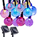2PCS Solar String Lights Outdoor 60 Led 35 Feet Crystal Globe Lights with 8 Lighting Modes, Waterproof Ball Fairy Lights, Decoration Lighting for Home, Garden, Patio, Yard, Christmas (Multicolor)
