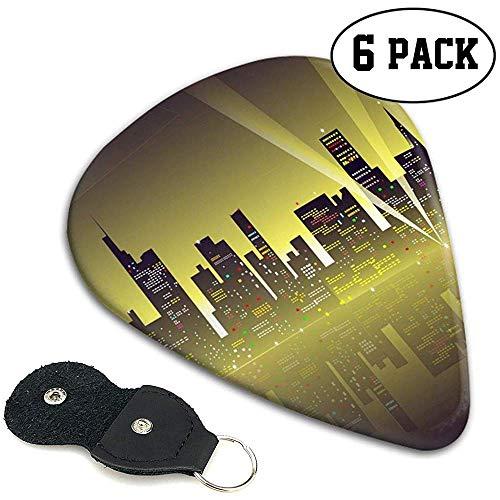 Selecciones de guitarra de celuloide Sampler Pick 6 Pack Splendid City Night Landscape Personalized