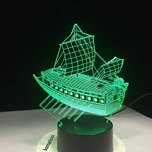 3D Led Ancient Sailing Boat Night Light 7 Color Changing USB Bluetooth Stereo Lamp Sitting Room Lights Energy Saving Night Lights