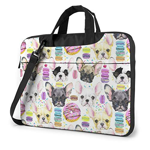 Watercolor Puppy French Bulldog with Dessert Laptop Shoulder Messenger Bag, 13 Inch Notebook Sleeve Carrying Case with Trolley Belt for Lenovo Acer Asus Dell Lenovo Hp Samsung Ultrabook Chromebook