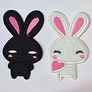 2pcs Black and White Bunny Rabbit Embroidery Iron on Patch / Applique / Sewn On
