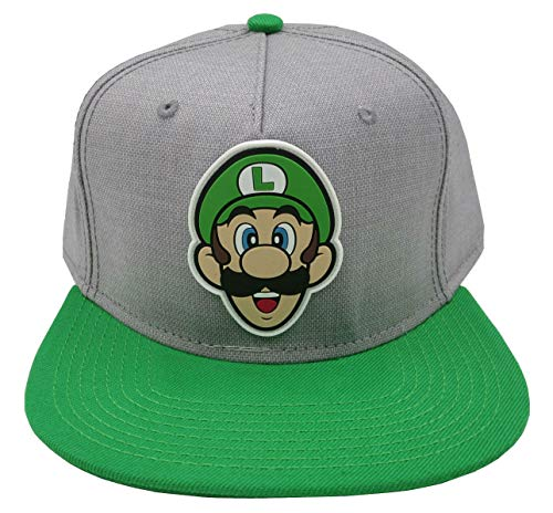 BIOWORLD Nintendo Super Mario Bros - Luigi Rubber Logo Snapback Cap