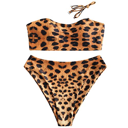 ZAFUL Women's Leopard Print High Cut Two Piece Swimsuit Bandeau Bikini Set (Leopard B, XL)