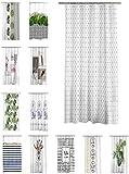one-home Duschvorhang 180x200 cm wasserabweisend Badewannen Vorhang inklusive 12 Ringe, Farbe:Triangle grau