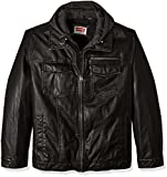 Levi's Men's Levs Faux Leather Two Pocket Trucker Hoody with Sherpa Lining, Black, Medium