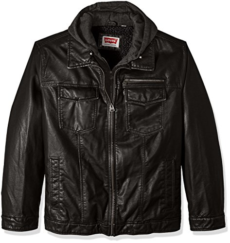 Levi's Men's Vintage Deer Faux Leather Sherpa Lined Trucker Hooded Jacket, Deep Black, 2X Big