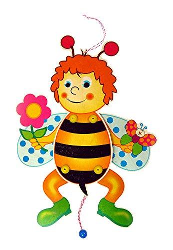 Hess Holzspielzeug 12430 - Hampelmann aus Holz, Biene mit Blume, handgefertigt, zum Aufhängen an Türen und Wänden, als Geschenk zur Taufe oder zum Geburtstag