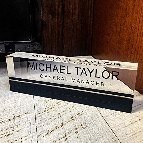 Artblox Office Desk Name Plate Personalized | Custom Name Plates for Desks on Acrylic Glass Decor | Office Desk Decor Nameplate | Desk Accessories | Black Stripe - (8
