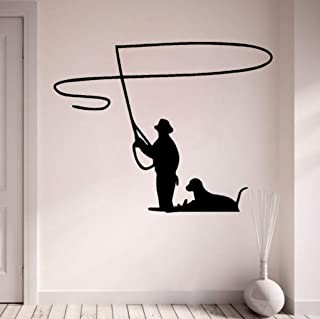 Huanxidp Wall Stickers 66Cmx51.4Cm Fashion Fly Fishing with Dog Wall Sticker Decal PVC Home Decor