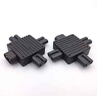 GOUWEI IEC320 C8 to 3*C7 Expansion Socket Plug 1to3 Male to Three Female Head 1to3 C8 to C7 Conversion Plug Power Adapter