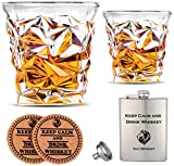 Vaci Crystal Whiskey Glasses – Set of 2 Bourbon Glasses, Tumblers for Drinking Scotch, Cognac, Irish Whisky, Large 10oz Lead-Free + Stainless Steel Flasks and Coasters, Cups and , Luxury Gift Box