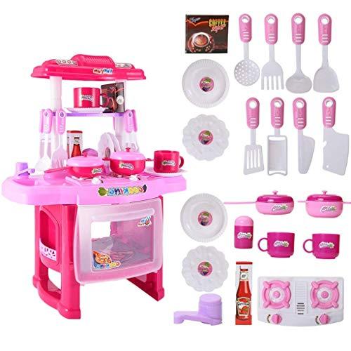 YLLN Juego de cocina de comida para juegos de rol con sonidos ligeros, juguetes de cocina para niños pequeños, juego de cocina de plástico para niños, vajilla para cocinar en casa para niños y niñas (