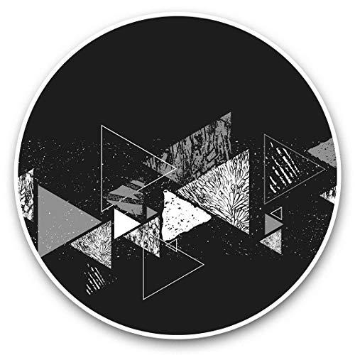Pegatinas de vinilo (juego de 2) 15 cm (bw) – Retro amarillo triángulo patrón impresión 43915
