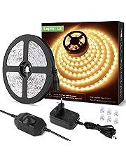LE 5M Warm wit LED-strookset Dimbaar, 12V LED-stroken, zelfklevende LED-stroken, flexibele LED-strook, LED-strook, LED-lichtstrook IP20, inclusief voeding en controller